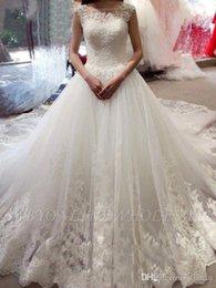 $enCountryForm.capitalKeyWord Australia - Elegant 2019 New Lace Wedding Dresses Jewel Neck Tiered Tulle Court Train Wedding Dresses Bridal Gowns robe de mariée vestidos de novia