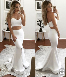 $enCountryForm.capitalKeyWord Australia - Pure White Two Pieces Sheath Mermaid Prom Dresses Sexy Backless Sweetheart Long Party Dresses Split Evening Gowns 2019