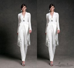 Deep Neck Suit Australia - 2019 Modest Chiffon Mother of the Bride Dresses Pants Suits Deep V-Neck Long Sleeves Formal Evening Gowns Mother of the Bride Suits