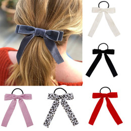 tie ponytail hair extensions NZ - Hair Accessories Scrunchies Velvet Hairbands for Women Leopard Bowknot Hair Rope Girls Rubber Bands Gum for Hair Ties