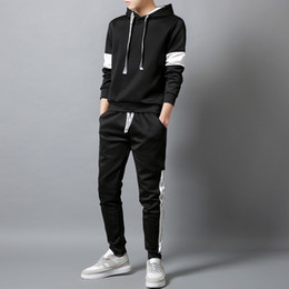 drop ship sports clothes Australia - Men Sets Hooded Sport Suit Tracksuit Outfit Suit 2 Piece Set Suits Hoodies Long Pants Autumn Warm Mens Clothing Drop Shipping