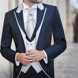 Dark Green Tie Grey Suit Australia - Latest Coat Pant Design Wedding Men Suit 3Pieces(Jacket+Pant+Vest+Tie) Groom Prom Masculino Trajes De Hombre Blazer