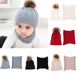 Wholesale 5 Colors Baby Cap Scarf Set Toddler Winter Warm Fur Ball knit Hats round Ring Knit Scarves Kids Knitted Beanies bonnet Scarf Neck Set M105