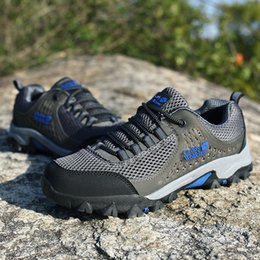 Camp Shoes For Men Australia - 2018 Men Trekking Shoes Rubber Non-slip Breathable Outdoor Sports Hiking Camping Tactical Shoes For Men Big Size 39-48 Grey Green