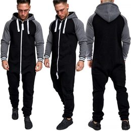 $enCountryForm.capitalKeyWord Australia - Unisex Men Women Solid Zipper Close Drawstring Hooded Tracksuit All In One Piece Long Sleeve Loose Jumpsuit