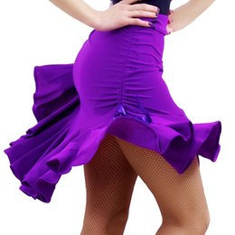 purple dance costumes Australia - New Latin Dance Skirt Women Adult Skirt Purple black Adjustable Styles Sides Drawstring Latin Dance Costume Competition
