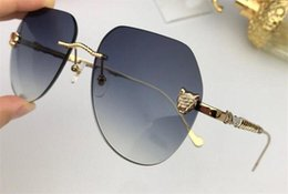 Diamond Uv Australia - New fashion women sunglasses 08097 Cutting lens charming cat eye frameless diamond avant-garde design style top quality uv protection