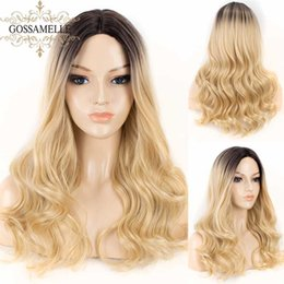 long blonde hair dark roots 2020 - Gossamelle Ombre Blonde Wigs Long Wavy Synthetic Wigs For Black Women Dark Root Highlight Cosplay Wig Heat Safe Hair Fib