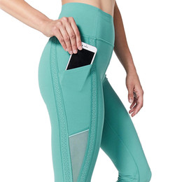 Side Mesh Leggings Australia - Women's High aist Ankle Length Breathable Mesh Silm Fit Running Fitness Gym Leggings with Side And Back Pockets