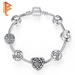 $enCountryForm.capitalKeyWord Australia - BELAWANG Antique Silver Charm Bracelet & Bangle Silver 925 With Crystal Heart Beads Bracelet for Women Wedding Vintage Jewelry