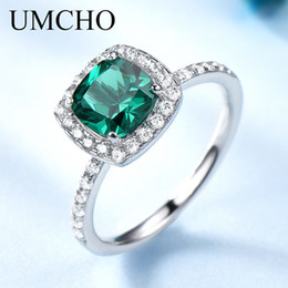 $enCountryForm.capitalKeyWord Australia - Umcho Real 100% 925 Sterling Silver Jewelry Created Round Emerald Birthstone Rings For Women May Birthday Gift Fine Jewelry T190702