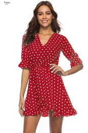 active wraps Australia - Blue Red Summer Dress Polka Dot Wrap V Neck Sexy Dress Slim Elegant Boho Ruffle Sexy Beach Short Dress Vestidos