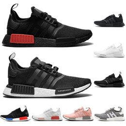 fed0ab3f4f0e1 2019 New designer sneakers NMD Japan Pack Triple White Triple Black Real  Boost NMD R1 Primeknit Running Shoes Small nipples Boost With Box