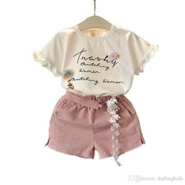 2020 baby girl clothes summer suits short T-shirts and fashion shorts middle and small kids clothing cotton designer clothes 90--130CM