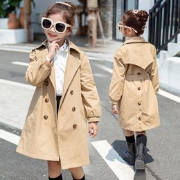 Discount year girls outfits - Kids Girls Trench Coat 8 10 12 years Khaki Cotton Long Coat for Teenage Girl Spring Autumn Windbreak Fashion Girl Outfit