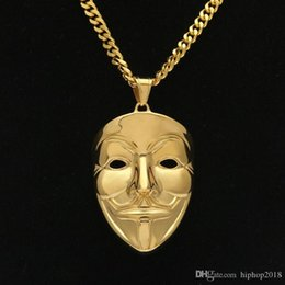 vendetta chain NZ - New Mens Hip Hop Jewelry Gold Cuban Link Chain V Vendetta Mask Pendant Necklace Fashion Jewelry