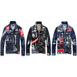 gold beads long chain designs NZ - 2019 Street men's jeans jacket wholesale hand-made gold paint trend badge embroidery men's loose leisure jacket