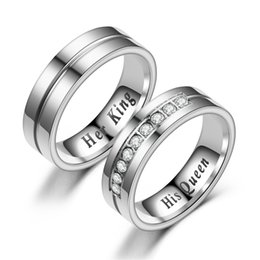 simple silver rings for couples 2019 - Simple Stainless Steel His Queen Her King Memorial Ring for Men Women silver color Couple Rings jewelry Dropshipping che