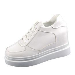 2da38406adff white Women Platform Sneakers Hidden Wedge 8 CM Heels Ladies Shoes calzado  mujer Tenis Casual shoes women chaussures femme