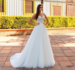 Sexy beach wedding reception dreSS online shopping - Boho Beach Wedding Dresses Soft Tulle Lace Bridal Gowns A Line Ivory Jewel Neck Covered Button Tulle Wedding Reception Dress