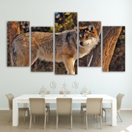 canvas prints free shipping NZ - 5 Piece HD Printed Canvas Art Wolf In Forest Painting Wall Pictures For Living Room Modern Free Shipping