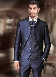 Formal Suits Waistcoat Australia - New Formal Mens Suit With Pants Navy Blue Wedding Suits For Men Jacquard Slim Fit Waistcoat For Groom Custom 3 Piece Floral Suit