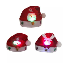 $enCountryForm.capitalKeyWord Australia - Free Shipping Hot Rave LED Christmas Hat Reindeer Snowman Santa Hat Decoration Xmas Gifts For Children Kids Adult Hats Christmas Party Props