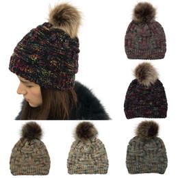 Green Pompom Hats Australia - Women's Beanie CC hats with Faux Fur Pompom Ball winter warm Bamboo Knitting Rainbow caps bonnet femme