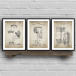 Paint art roll online shopping - Bathroom Patent Vintage Posters Prints Toilet Roll Cistern Lavatory Design Loo Canvas Painting Blueprints Home Wall Art Decor