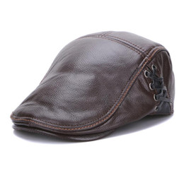 2c32ed5283a Spring Winter Men s Casual Real Genuine Cow Leather Baseball Cap Flat Beret  Hats High Quality Leather Peaked Cap
