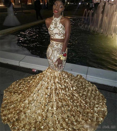 668f86a2442 Two Piece Dresses Short Prom Girl Australia - Two Pieces Prom Dresses  African Halter Sequined Appliques