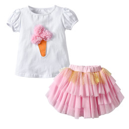 cute baby clothes wholesale UK - Tulle Cute Skirt Outfit 2 Piece Kids Casual Summer Outfits Short Sleeve Ice Cream Tops and Knee Length Skirt Baby Girl Clothes Sets 19051501