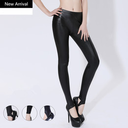 wholesale faux leather pants 2019 - 2019 Sexy Women Faux PU Leather Pants Tight Pants High Waisted Stretch Full Length Trousers Pencil cheap wholesale faux