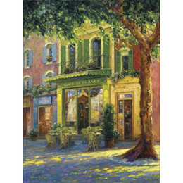 China Hand painted Landscapes oil paintings Old Town Cafe canvas art for wall decor cheap old landscape paintings suppliers