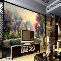 Painting Rooms House Australia - custom size 3d photo wallpaper living room mural stone Bridge and stone house oil painting sofa TV backdrop wallpaper non-woven wall sticker