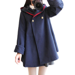 Blue Cotton Cloak UK - Japan Style Hooded Spring Winter Coat Women Cotton Long Sleeve Navy Blue Kawaii College Coat Femme Wool Blend