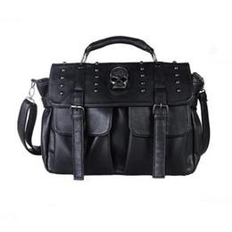 Skull Tote Bags Black Leather Australia - New Motorcycle Punk Style Skull Rivet Tote Bag Crossbody Black Bags For Ladies Women Messenger Bags Designer Leather Handbags