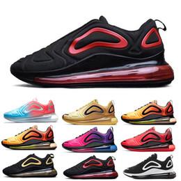 Venta al por mayor de nike air max 720 720s 72c airmax Zapatos casuales de nuevo estilo de alta calidad rosa mar amanecer hombres y mujeres neón tres capas negro carbón gris puesta de sol metal plata