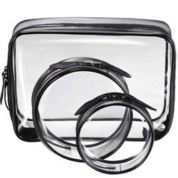 $enCountryForm.capitalKeyWord Australia - 3 Pieces Portable Black + transparent Waterproof PVC Travel Cosmetic Bag Travel Toiletries Bag Makeup with Zipper (Small,