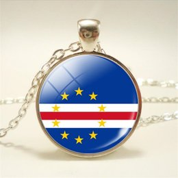 $enCountryForm.capitalKeyWord Australia - Hot New Africa Cape Verde National Flag World Time Gem Glass Cabochon Pendant Necklace For Women Men Long Link Sweater Chain Chocker Jewelry