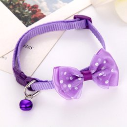 Wholesale Hot Pet Bow Collar with Bell Dog Puppy Cat Bowknot Neck Strap Dressing Favors LFD