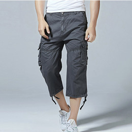 $enCountryForm.capitalKeyWord NZ - Mens Casual Cargo Shorts Men 2019 New Loose Solid Work Shorts Multi-pocket Overalls Breeches Quality Cotton Brand Clothing Plus Size 30-40