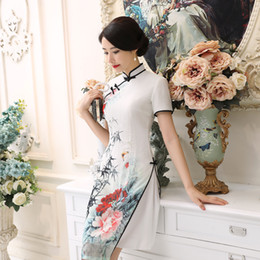 Vietnam White NZ - 2019 Hot Sale Sexy White Satin Vietnam Ao Dai Dress Chinese Traditional Lady' s Short Sleeve Print Elegant Short Dress S-3XL AD3 C18122701