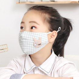 Wholesale cat face print online – design Adjustable Earloop Mouth Mask Animals Cat Lattice Print Anti Droplets Uv And Wind Face Masks Dust Filtrition Respirator Mascherine ry E1