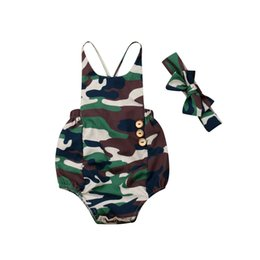 camouflage tutu Australia - Newborn Baby Boy Girl Cotton Romper 2019 New Unisex Toddler Baby Girls Boys Camo Romper Summer Casual Camouflage Sling Jumpsuit