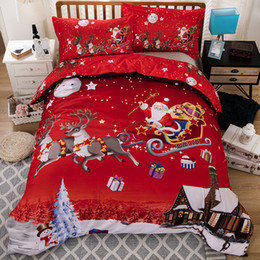 Queen size cartoon bedding online shopping - 3D Merry Christmas Bedding Set Duvet Cover Red Santa Claus Comforter Bed Set Gifts USA Size Queen King