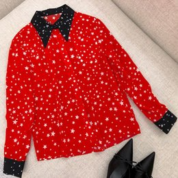 98c30272e462ea 100 Silk Shirts Blouses 2019 Women High Quality Autumn Fashion Front Button  Blouse Black Collar Long Sleeve Shirt Print Star