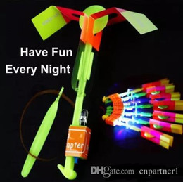 Slingshot Helicopter Toy Australia - Amazing LED light Flying Arrow Helicopter for Sports Funny Slingshot birthday party supplies Kids' Gift Novelty Children Flying Toys