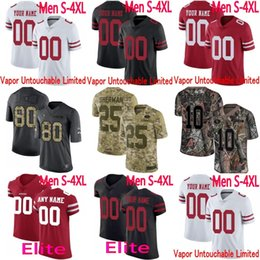 405b03d84 Mens Women Youth SF Jimmy Garoppolo Rice Joe Montana Richard Sherman Reuben  Vapor 49ers Elite Camo Salute to Service Limited Jersey