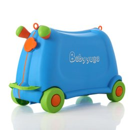 Pull rod online shopping - Kids Sit and rid toy boy girl baby cars box luggage children creative suitcase travel Pull rod box Lovely Check Bear KG